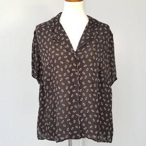 Jones New York Black Silk Black Short Sleeve 16W